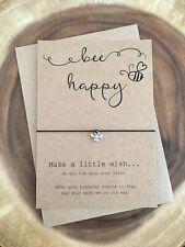Bee Be Happy Positivity Friendship Charm Wish Bracelet Gift