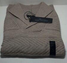 Marc Anthony Oatmeal Long sleeve small sweater V-neck collar Cable Stitches