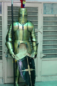 Medieval Knight Wearable Suit Of Armor Crusader Combat Full Body Armour ZA03
