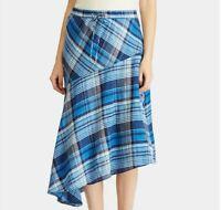 Lauren Ralph Lauren Womens Sz 12 Blue Multi Plaid Asymmetrical Hem Skirt Linen