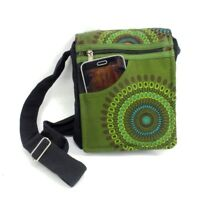 Crossbody Boho Purse Cotton Green Geometric Hippie Passport Travel Shoulder Bag