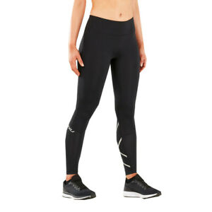 2XU Womens Run Mid Rise Compression Tights Bottoms Pants Trousers Black Silver