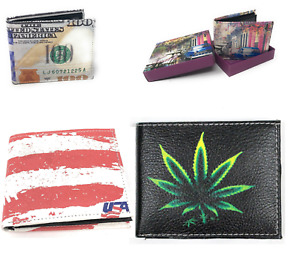 Printed Handcrafted BI-Fold Men's Leather High Quality Boxed Wallet