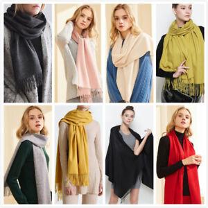 Womens Ladies Plain Scarf Winter Warm Wool Blend Wrap Pashmina Shawl Poncho
