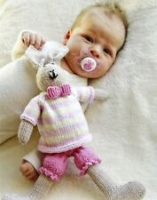 MRS BUNNY TOY -  KNITTING YARN KIT AND FREE PATTERN - WITH PANTS JUMPER AND BOW