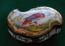 Sevres Hand Painted Gilded Porcelain Trinket Pill Box Bird Motif Unusual Shape!