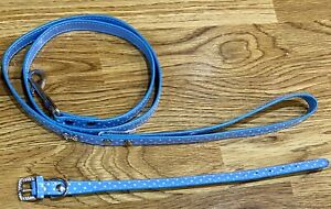 Blue Polka Dot With Bling Dog Leash and Collar Size Size Extra Small - NWOT