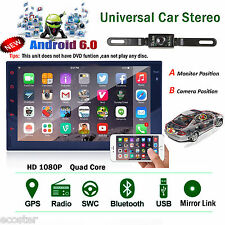 "Android 6.0 Touch Car GPS Navi 7"" Quad Core Double 2Din Stereo WiFi 3G Radio+Cam"
