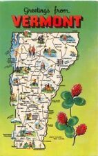Greetings from VERMONT Map Card ~ Std Size Chrome