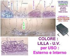 SERIE 100 LUCI LED NATALE LILLA-VIOLA Mt.5 da ESTERNO 24V ALTA SICUREZZA 119399