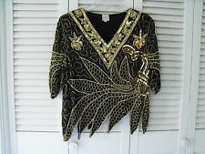 Vintage Silk black Gold Tone with Pearls Top Sequin Beaded  Floh F17
