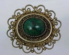Turquoise Pin or Pendant Vintage Filigree Sterling Silver