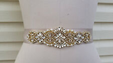 "Wedding Dress Sash Belt - ROSE GOLD Crystal Pearl Sash Belt = 17"" long Trim"