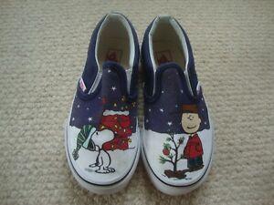 Vans SLIP ON Peanuts Limited Snoopy Charlie Brown Christmas Tree KID Size 12.5