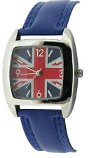 Unisex Childs Union Jack Blue Strap Square Face Fashion Quartz Watch bxd 16b