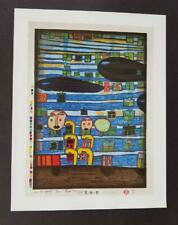 """Friedensreich Hundertwasser """"Song Of The Whales"""" Mounted Offset  Lithograph 1986"""