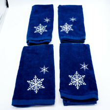 Set of 4 Cobalt Blue Bathroom Hand Towels with Embroidered White Snowflakes