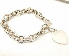 """Auth Tiffany & Co Sterling Silver Heart Tag Link Bracelet 7 1/2"""" Clasp No Mono 2"""