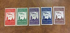 {BJ Stamps} 1913 Darmstadt Air Exhibition Cinderella 5 Poster Stamp Seals labels
