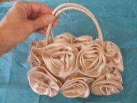 Satin Flower Women Bride Cocktail Party Evening Clutch Bag Handbag Purse w/strap