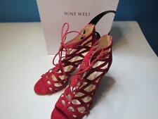 NIB Nine West Red Suede Gladiator Heels Zipper Back 10 M - HOT!