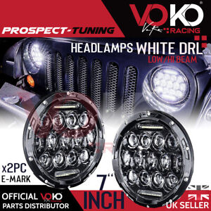UK 2x 7Inch 300W Round LED Headlights For Jeep Land Rover 90/110 Defender VKOV4