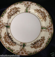 "MEITO CHINA MEI574 MEI628 SALAD PLATE 7 7/8"" GOLD FILIGREE FLORAL GREEN SCROLLS"