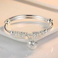 Women Fashion Jewelry 925 Sterling Silver Plated Cuff Bracelet Charm Bangle Gift