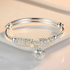 New Fashion Jewelry 925 Sterling Silver Plated Womens Charm Bangle Bracelet Gift