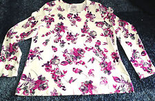 Croft & Barrow  Ladies Long Sleeves Classic Tee Floral Round Neck 100% Cotton