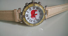 Silver Finish/Gold Color  Leather Band Good Luck Elephant Fashion Watch