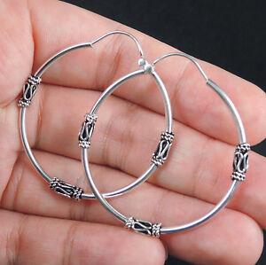 ETHNIC Design 925 STERLING SILVER HOOP Style Earrings Jewellery