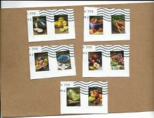 SCOTT 5484-5493 FRUITS AND VEGETABLES SET OF TEN STAMPS USED ON PAPER