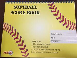 NEW Softball Scorebook, Landscape, 45 games, 13 players