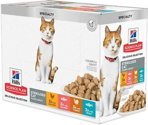 Hill's Science Plan Wet Adult Sterilised Cat Food Pouches 12x85g Multipack
