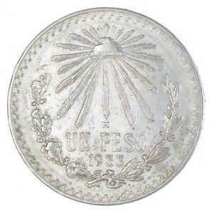 SILVER - WORLD Coin - 1933 Mexico 1 Peso - World Silver Coin *736