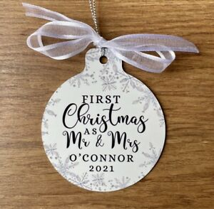 Personalised Mr And Mrs Bauble Our First Christmas Gifts For Couple Metal