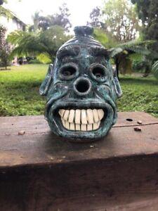 Dwayne Crocker Southern Folk Pottery Face Jug Blue Glaze