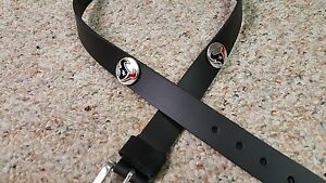 Houston Texans Leather Mens Belt Black with Conchos Size 28 to 46 Red & Blue