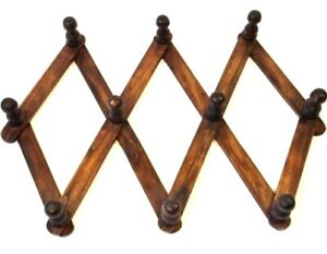 Expandable teak wood coat cloak room hook rack with 10 ten pegs