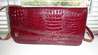 Pierre Cardin Genuine Vintage Retro Mock Croc Crocodile Leather Clutch Handbag