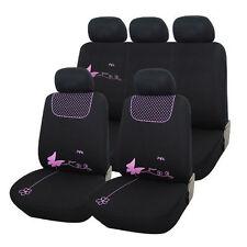 Truyoo Mariposa Rosa 9pc Universal coche vehículo cubierta de asiento Protector Set