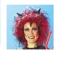 Perücke Teufel Rot / Schwarz  Devil  Karneval Fasching Teufelsperücke Erwachsene