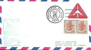 Foreign Flag Airmail Flight Philadelphia-Frankfurt December 16 1976 AAMC#LH-172
