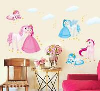 Wall Stickers Unicorn Princess Wall Tattoo Wall Art Decal Home Decor Girls Kids