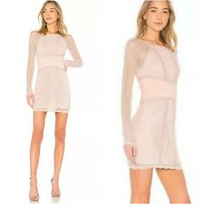 People Mixed Mesh Bodycon Dress Womens Medium Champagne Pink Long Sleeve