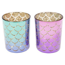 Set of 2 Mermaid Tail Design Glass Candle Holders For Tealight / Voltive Candles