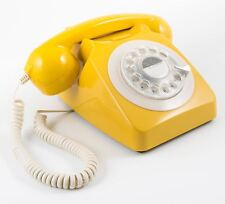 GPO 746 Mustard Yellow Telephone 60's 70's British Rotary Dial Handest Phone