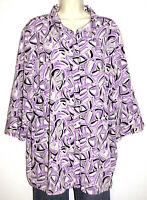 Maggie Barnes Women's 3/4 Sleeve Print Button Stretch Blouse Plus Size 2X 22/24W