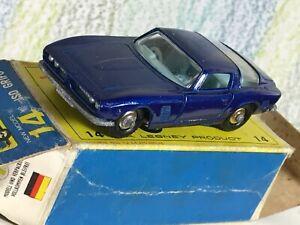 Matchbox Lesney # 14d Iso Grifo metallic blue NMinFBox 4BPW chrome hubs tow bar